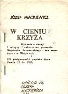 Mackiewicz W cieniu krzyża Kabel Opatrzności krzyza Opatrznosci Lublin Oficyna Józefa Mackiewicza 1987 k004122 Muzeum Wolnego Słowa www.m-ws.pl/muzeum/